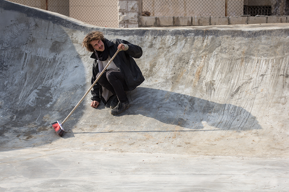 Jannis Fray is a German design student in Jordan on an exchange program. He is a longtime skater and has helped organize the fundraising event for the skatepark. This is his first time building a skatepark and he is also doing some artwork there.