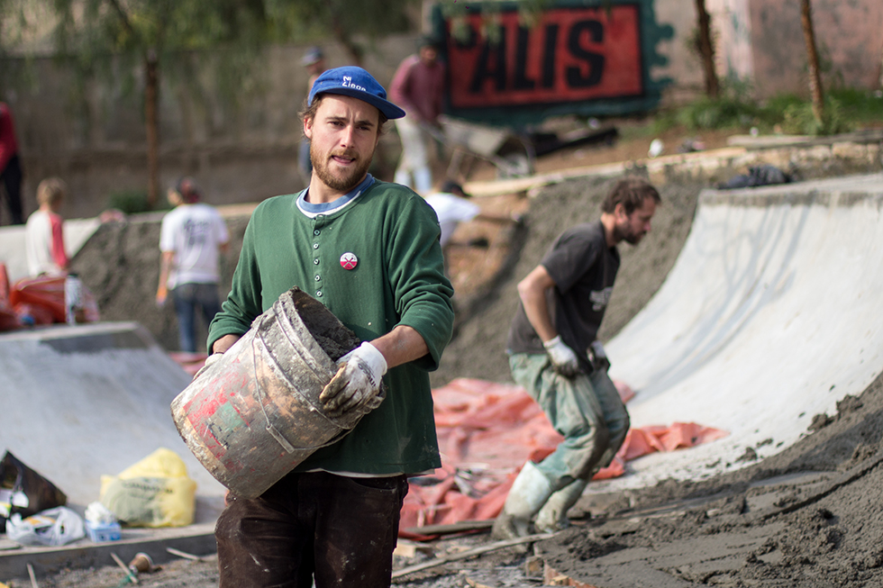 Mikkjel Dolferus, 30 years old, came from Belgium and is spending 20 days in Amman to help build the 7Hills skatepark. He is a specialized skatepark builder and has previously volunteered to build one in Bolivia.
