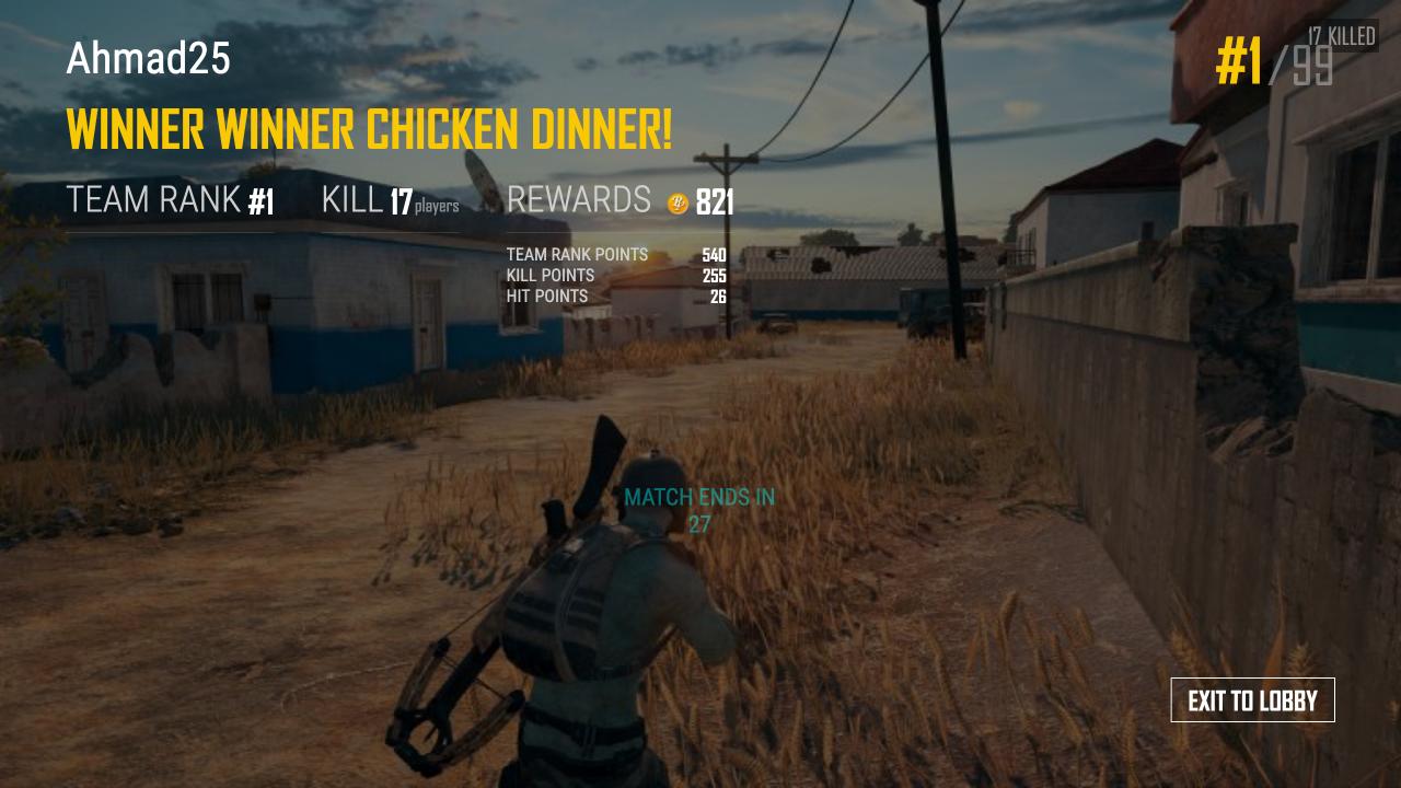 لقطة من نهاية اللعبة.