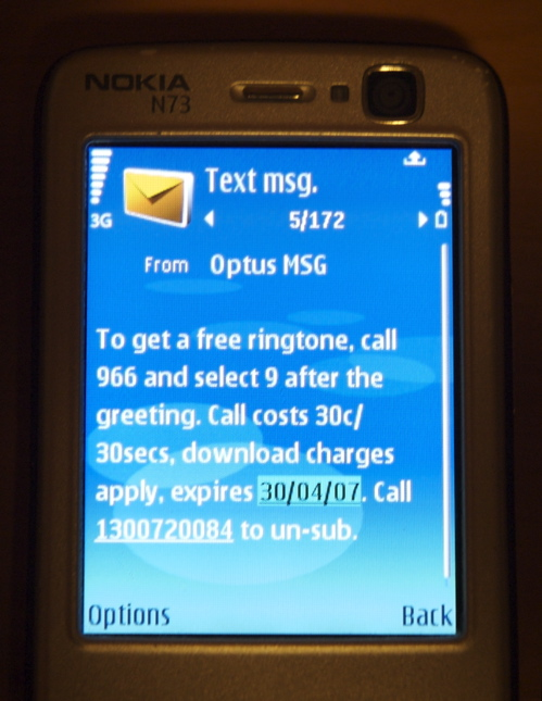 Cell Phone SMS Spam